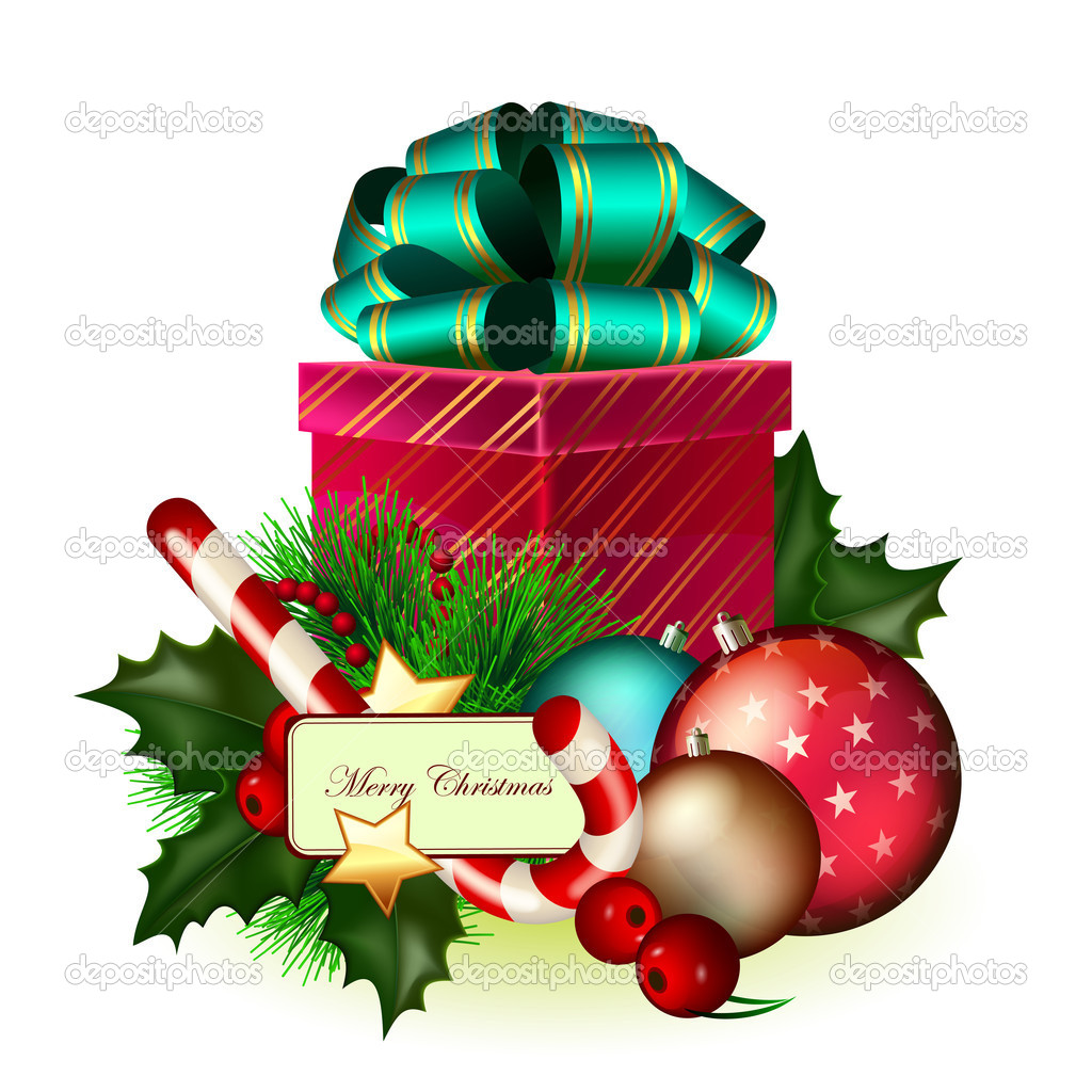 Bright christmas composition of decorations and gift  Stock Vector #6866476