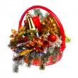 Christmas gift basket on white background — Foto Stock
