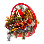 Christmas gift basket on white background — Stock Photo