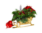Christmas gift basket on white background — Stock Photo