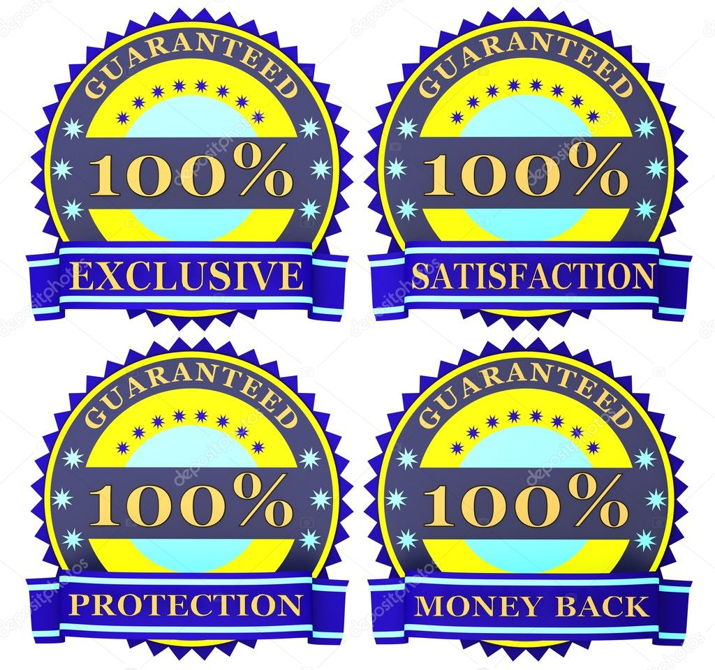 Blue satisfaction guarantee labels — Stock Photo #6859709