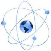Atom symbol with a globe — Stock Photo