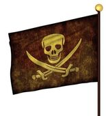 Flagpole with pirate flags — Stock Photo