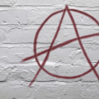 Red Anarchy Symbol on White Wall — Stock Photo