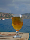 Cold Beer at Seafront Cafe — Stock Photo