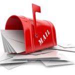 红色信箱都用堆的信件。孤立的 3d 图 — 图库照片