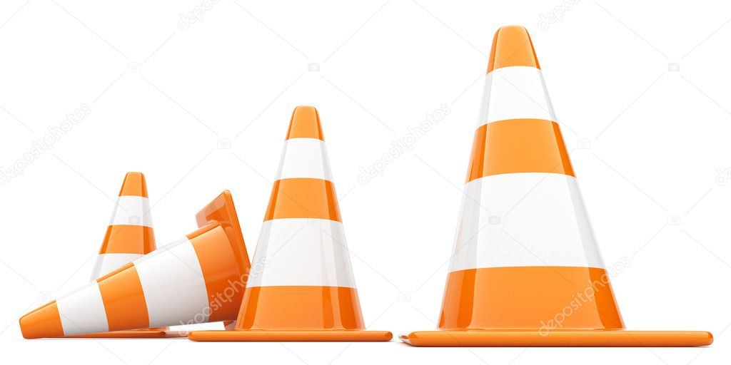Traffic Cones. 3D illustration. Isolated, on white background — Stock Photo #6833342