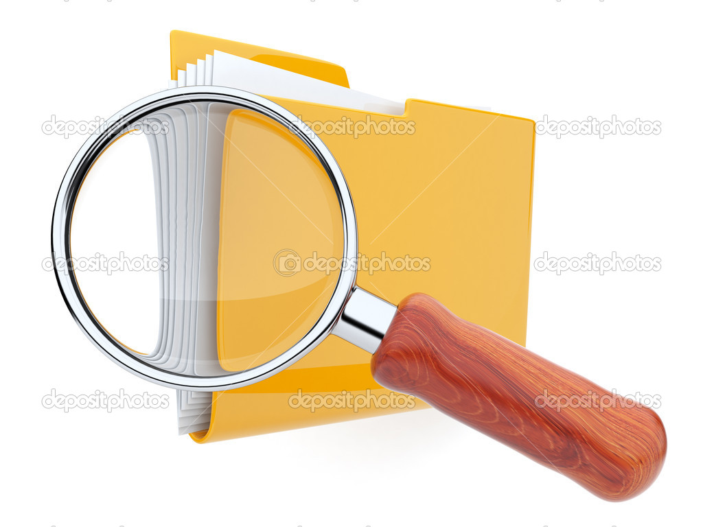 Folders and magnifying glass. File search. 3D — Stock Photo #6833487