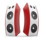 Red audio speaker. Acoustic system 3D. Isolated on white backgro — 图库照片