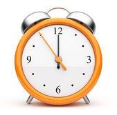 オレンジ色の目覚まし時計の 3 d。アイコン。白い背景で隔離 — ストック写真