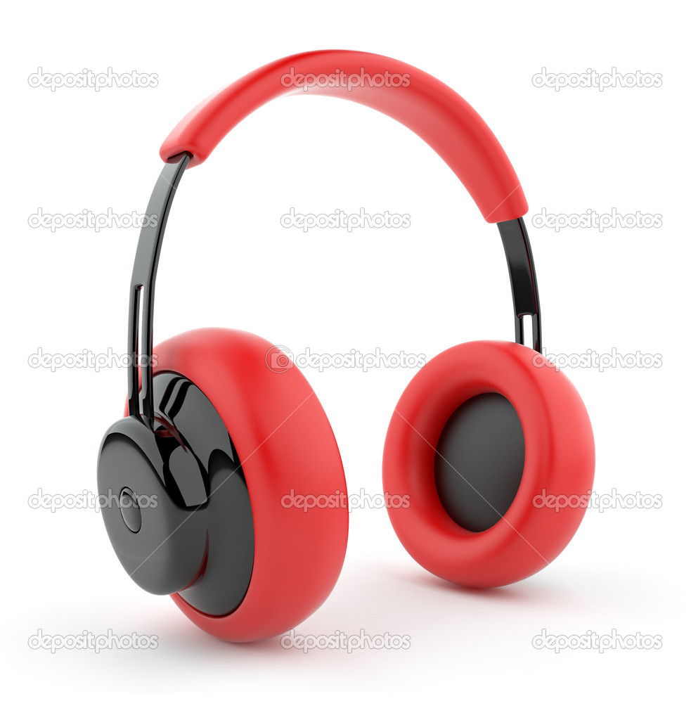 Red headphones 3D. Icon. Isolated on white background  Stock Photo #7859145