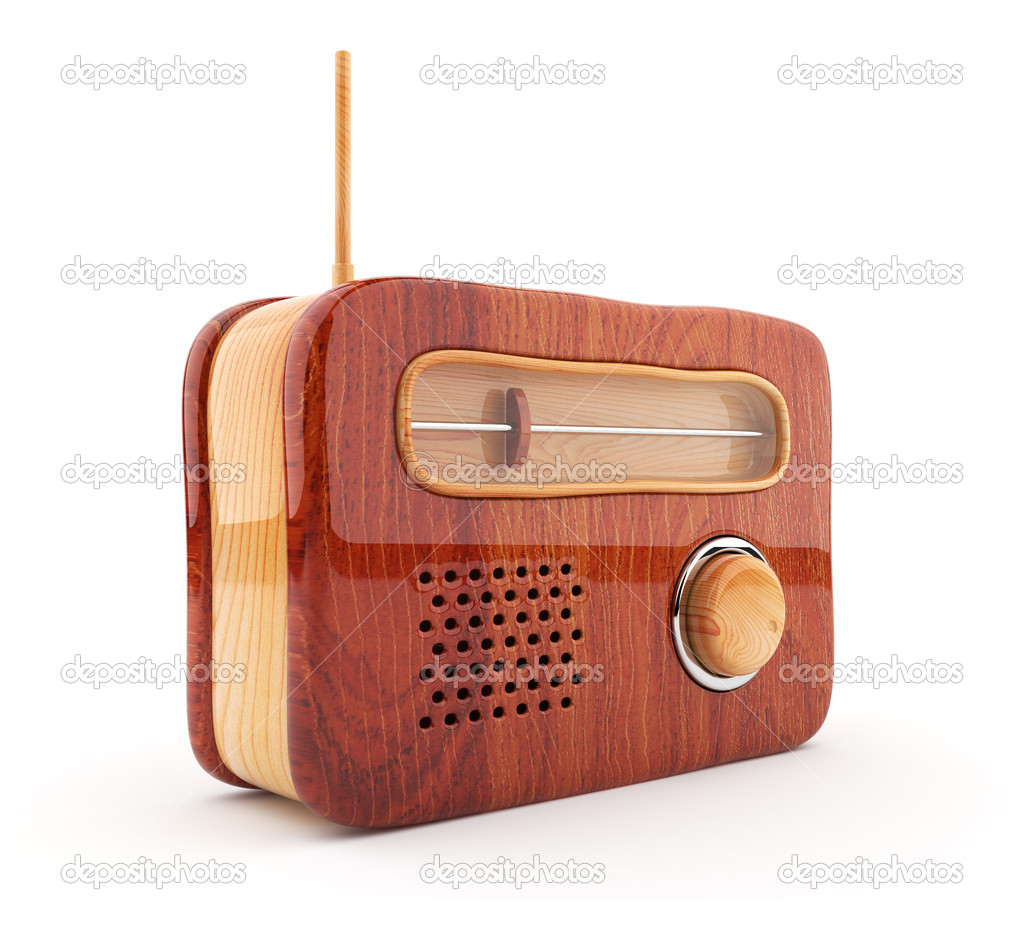 Wooden radio 3D. Retro style. Isolated on white — Stock Photo #7859220