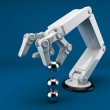 Robotic hand holding sphere 3d. Artificial intelligence. On blue — Stock Photo #7918496
