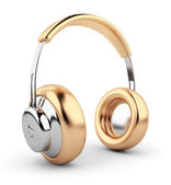 Golden headphones 3D. Icon. Isolated on white background — Stock Photo
