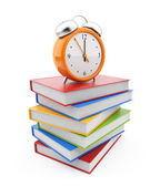 Alarm clock standing on stack of books. 3D Isolated on white bac — Stock Photo