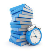 Alarm clock standing witch stack of books. 3D Isolated on white — Stock Photo