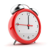 Vermelho de alarme relógio 3d. ícone. isolado no fundo branco — Foto Stock