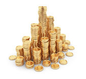 Heap gold coins 3D. Business concept. Isolated on white backgrou — Stock Photo