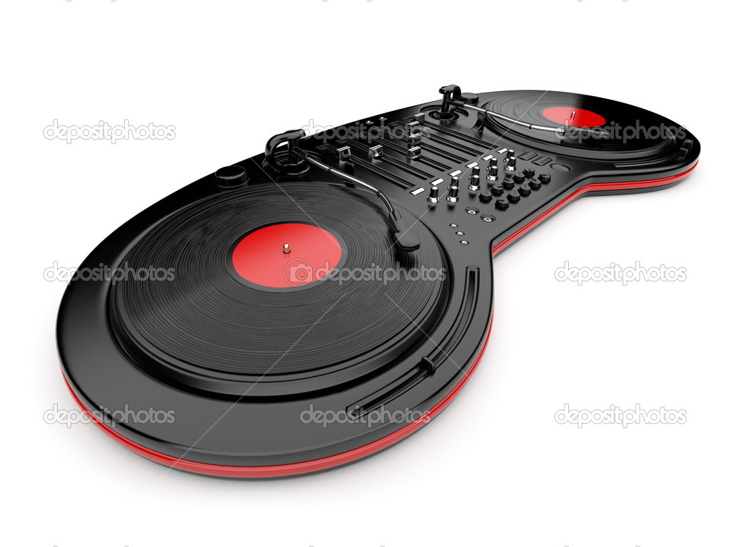 DJ music mixer control with  vinyl disc 3D. Isolated on white — Stockfoto #7918274