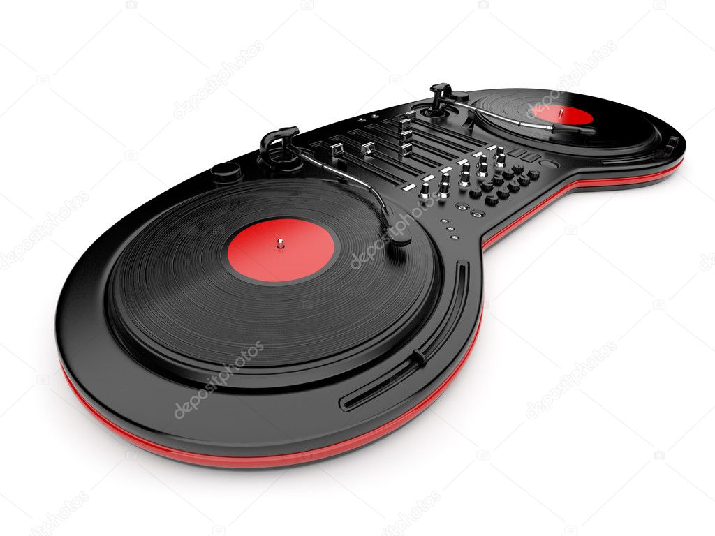 DJ music mixer control with  vinyl disc 3D. Isolated on white — Lizenzfreies Foto #7918274