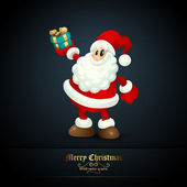 Santa Claus Holding Gift — Stock Vector