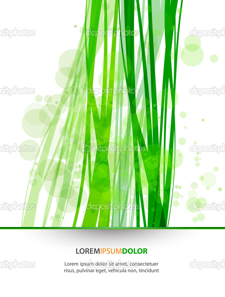 Abstract Nature Vector Background - Transparent Lights and Wavy Foliage Decorations  Stock Vector #7624988
