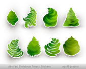 Abstract Christmas Trees | Stickers — Stock Vector