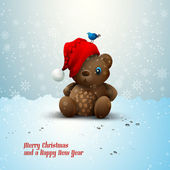 Christmas Teddy Bear Sitting Alone in the Snow — Stock Vector