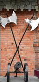 Vintage axes and gun — Stock fotografie