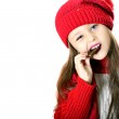 Girl with candy bars — Stock Photo