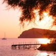 Eressos, Lesvos, Greece at sunset - Stock Photo