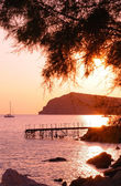 Eressos, Lesvos, Greece at sunset — Stock Photo