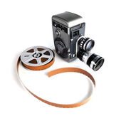 Vintage Movie Camera and Film — Stock Photo
