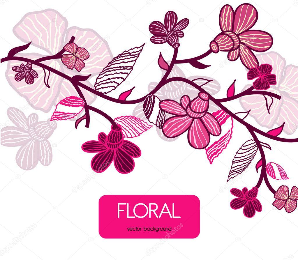 白色矢量绘图花的粉红色背景