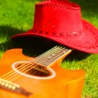 Guitar and red hat — Stock Photo