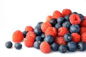 Raspberries & Blueberries — 图库照片