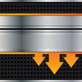 Vector metal background with orange arrows — Stock Vector
