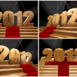 2012, happy new year on gold stage — Stock Photo