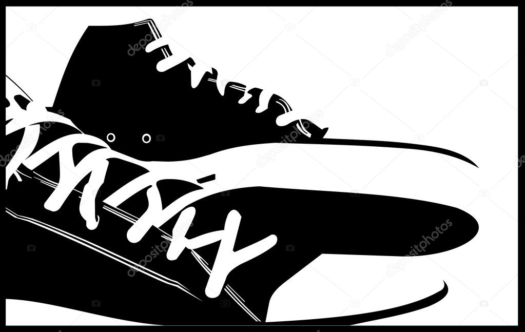 Abstract vector illustation of black sneakers — Stock Vector #7272491