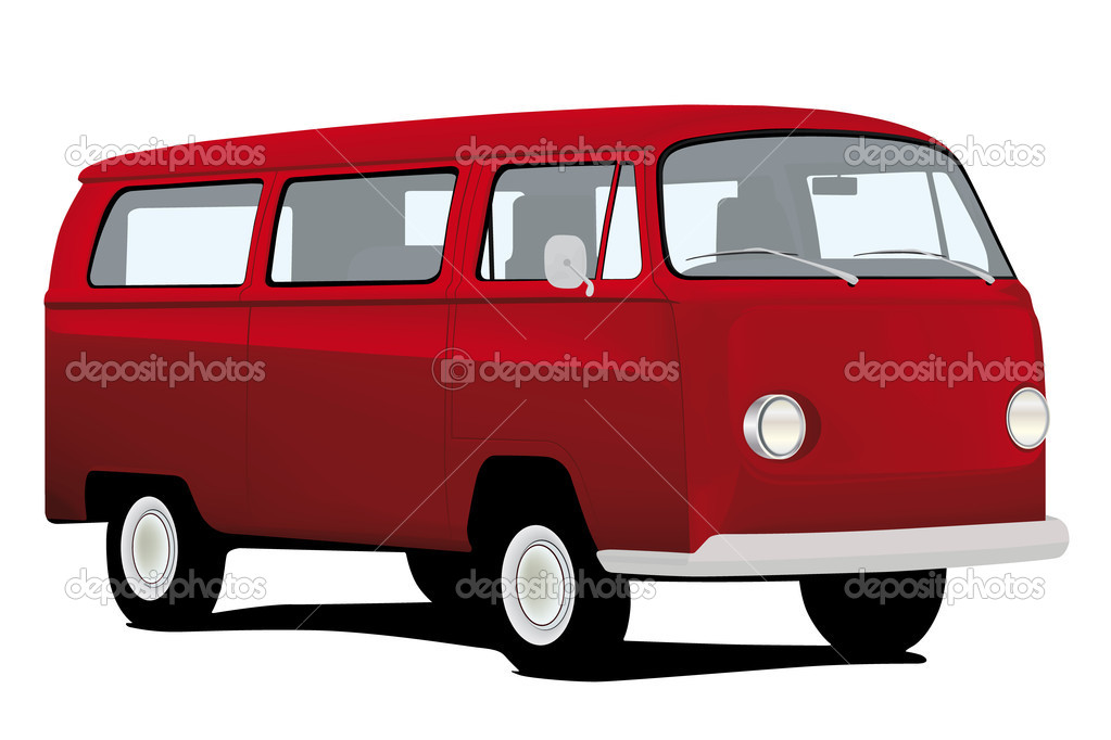 Classic microbus / minivan isolated on white background — Stock Vector #7370735