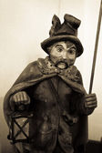 The night watchman, wooden sculpture — Stock Photo