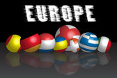 3d ball what is represent the European countries flags — Vettoriale Stock