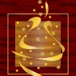 Graphic illustration of a christmas greeting card with Christmas tree and h — Image vectorielle
