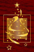 Graphic illustration of a christmas greeting card with Christmas tree and h — 图库矢量图片