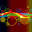 Graphic illustration of abstract shapes over spectral background — Imagens vectoriais em stock