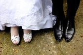Bride and groom foot — Stock Photo