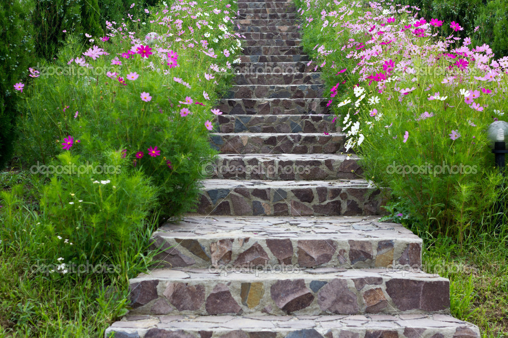 Rock stairs surrounded by flowers — Stock Photo #7008907