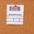 Pinned boarding pass — Stock Photo