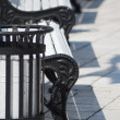 Stock Photo: White benches in park