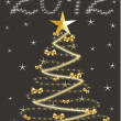 Christmas and new year card  with 2012 on a black background — Stock Photo